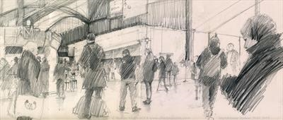 Marylebone Station 29 January 2015 by Cynthia Barlow Marrs SGFA, Drawing, Graphite on paper