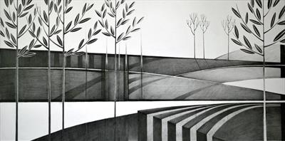 Moat by Cynthia Barlow Marrs SGFA, Drawing, Graphite pencil on paper