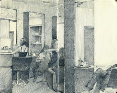 Monday at the salon by Cynthia Barlow Marrs SGFA, Drawing, Graphite in Moleskine sketchbook