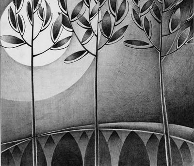 Moon Trees by Cynthia Barlow Marrs, Drawing, Graphite on Bristol Board