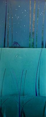 Moonlit Forest no. 3 - from The Portable Forest series by Cynthia Barlow Marrs SGFA, Painting, Acrylic and cut papers on canvas