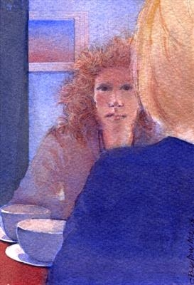 Morning Coffee by Cynthia Barlow Marrs SGFA, Painting, Watercolour on Paper
