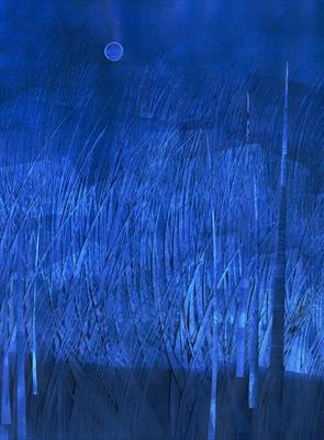 Night Meadow in Prussian Blue by Cynthia Barlow Marrs SGFA, Drawing, Ink and cut papers on paper