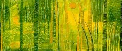 Night and Day by Cynthia Barlow Marrs SGFA, Drawing, Ink and cut papers on paper