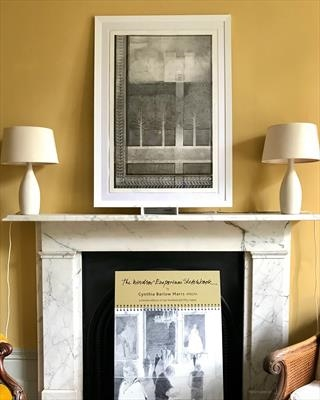 On the mantelpiece: Pale Grey Castle by Cynthia Barlow Marrs SGFA, Photography