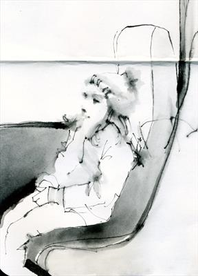 On the train to Twickenham by Cynthia Barlow Marrs SGFA, Drawing, Pen on Paper