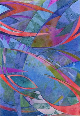 Pink Lotus by Cynthia Barlow Marrs, Painting, Acrylic glazes and cut papers on paper