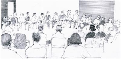 Plenary session by Cynthia Barlow Marrs SGFA, Drawing, Graphite pencil on paper