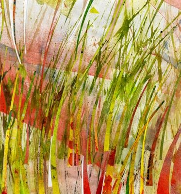 Poppy Field by Cynthia Barlow Marrs, Painting, Gouache, ink and cut papers on paper