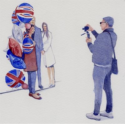Posing with Harry and Meghan by Cynthia Barlow Marrs SGFA, Painting, Watercolour on Paper