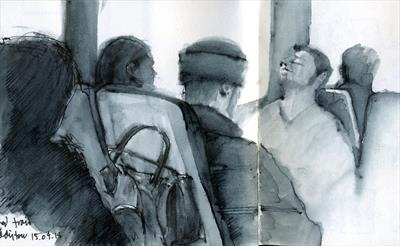 Readers and sleepers on the Paddington line by Cynthia Barlow Marrs SGFA, Drawing, Pen and water brush in sketchbook