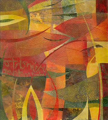 Red Leaves by Cynthia Barlow Marrs, Painting, Collage