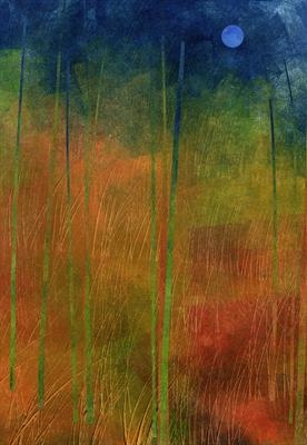 Red Meadow by Cynthia Barlow Marrs SGFA, Drawing, Ink and cut papers on paper