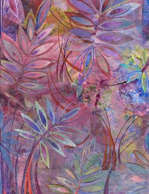 Red Sumac by Cynthia Barlow Marrs SGFA, Drawing, Acrylic glazes and cut papers on paper