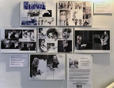 Sketch collage wall: Live music in Windsor by Cynthia Barlow Marrs SGFA, Photography