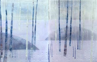 Snow in Silver Blue (diptych) by Cynthia Barlow Marrs SGFA, Drawing, Ink and cut papers on panel
