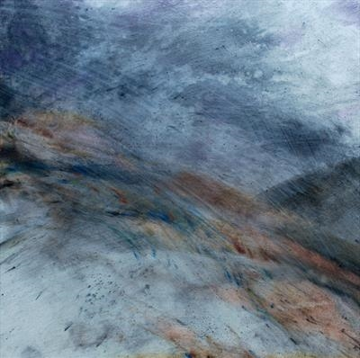 Storm Hill by Cynthia Barlow Marrs SGFA, Drawing, Gesso, charcoal and pastel on panel