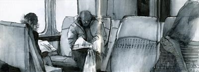 Sunday morning papers on the train by Cynthia Barlow Marrs SGFA, Drawing, Pen and ink in A6 sketchbook