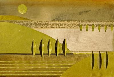 The Art of Travel 1 by Cynthia Barlow Marrs SGFA, Drawing, Ink and cut papers on panel