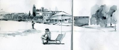 The Beach at Desenzano, Lake Garda by Cynthia Barlow Marrs SGFA, Drawing, Pen and water brush in A6 sketchbook