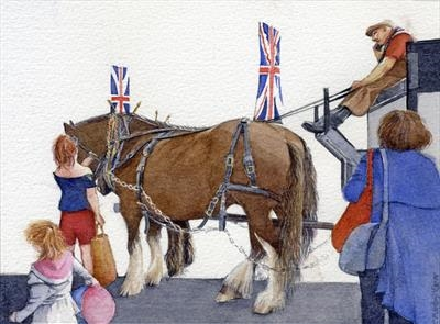 The Dray Horses of Windsor & Eton Brewery by Cynthia Barlow Marrs SGFA, Painting, Watercolour on Paper