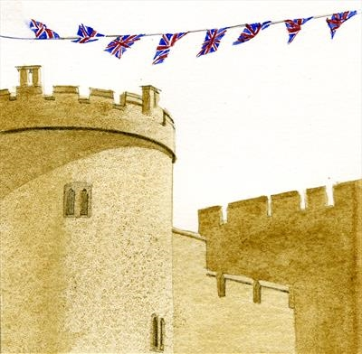 The Salisbury Tower with Bunting by Cynthia Barlow Marrs SGFA, Painting, Watercolour on Paper