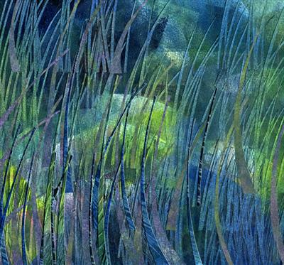 Tidal Pool by Cynthia Barlow Marrs, Painting, Printmakers' ink and cut papers on water colour paper