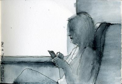 Train texter by Cynthia Barlow Marrs SGFA, Drawing, Pen and water brush in A6 sketchbook