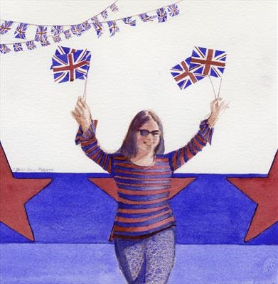 Union Flags and Stars by Cynthia Barlow Marrs SGFA, Painting, Watercolour on Paper