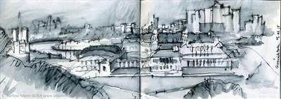 View from Greenwich by Cynthia Barlow Marrs SGFA, Drawing, Pen and water brush in sketchbook