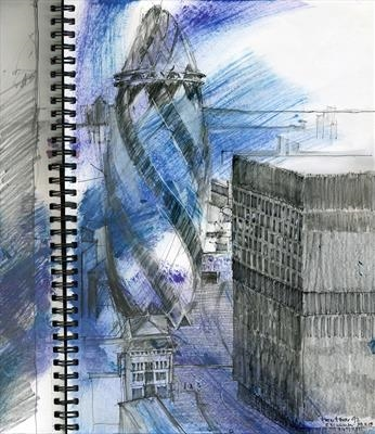 View from Tower 42: The Gherkin by Cynthia Barlow Marrs SGFA, Drawing, Gouache, graphite and felt pen in A3 sketchbook