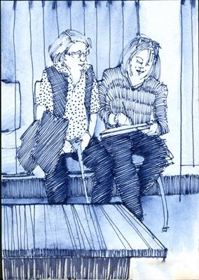 Waiting room, Wexham Park Hospital by Cynthia Barlow Marrs SGFA, Drawing, Pen in A6 sketchbook
