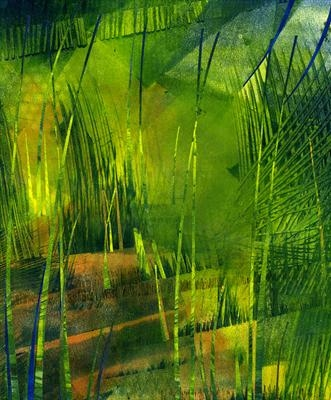 Yellow Marsh by Cynthia Barlow Marrs, Painting, Printing ink and cut papers on paper
