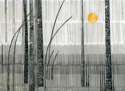 Yellow Moon by Cynthia Barlow Marrs SGFA, Drawing, Ink and cut papers on paper