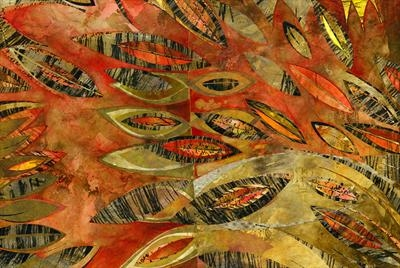 Zebra Leaves by Cynthia Barlow Marrs, Painting, Drawing ink, acrylic glazes and cut papers on canvas board